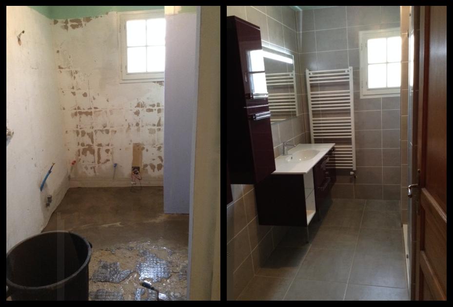 Réalisation d'une salle de bains avec pose de carrelage et faïence à Vesly