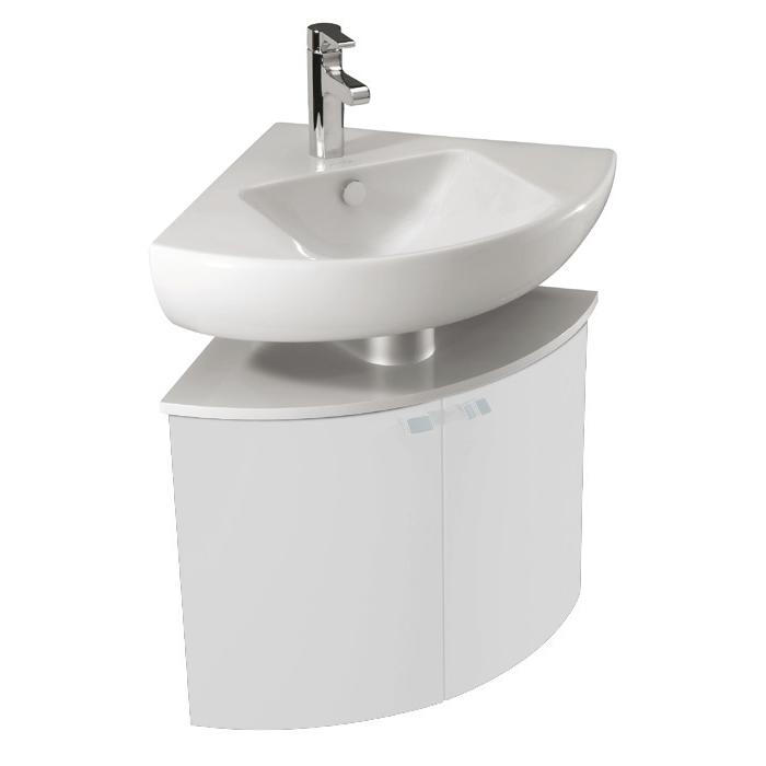 Meuble d angle pour lavabo odeon up l 68 2 portes laque brillante blanc jacob delafon ref eb864 p image 931810 grande